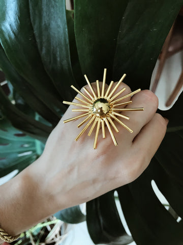 Big sun / adjustable ring / plated gold 24k