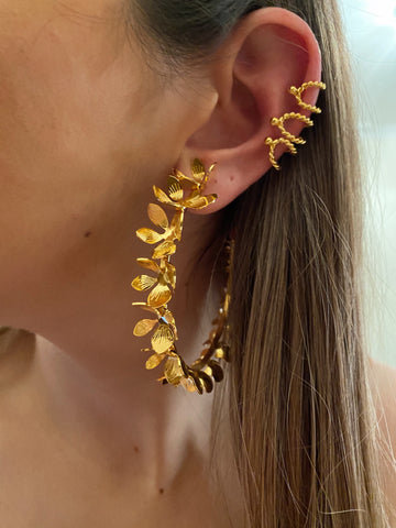 cerceaux de printemps - Floral big hoops - gold 24kt