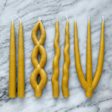 Load image into Gallery viewer, handmade beeswax candles dipped sculptural candlesticks magwood made in toronto canada natural