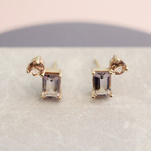 Load image into Gallery viewer, modern contemporary earrings studs 14k yellow gold ametrine citrine cluster emerald cut magwood fine jewelry jewellery mociun handmade Toronto Canada one of a kind