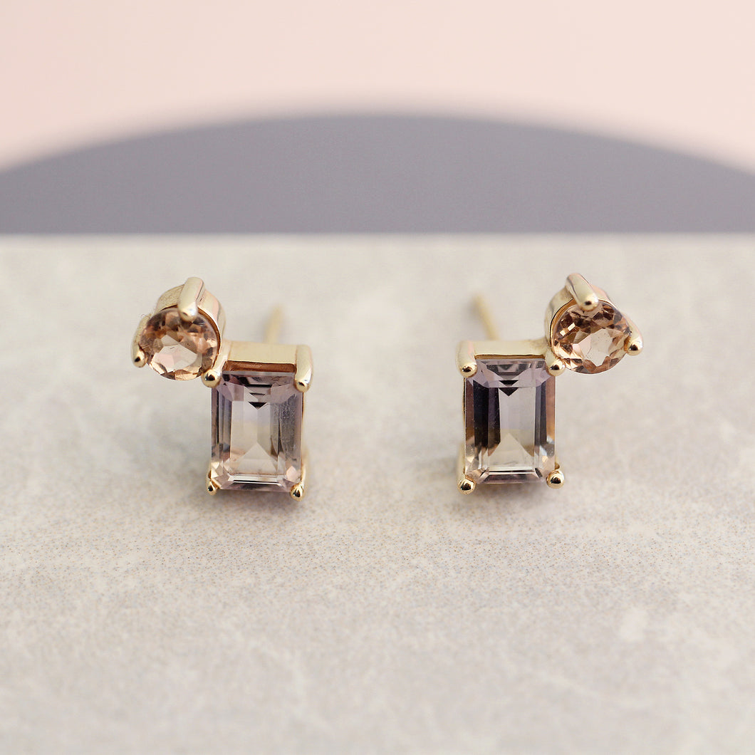 modern contemporary earrings studs 14k yellow gold ametrine citrine cluster emerald cut magwood fine jewelry jewellery mociun handmade Toronto Canada one of a kind