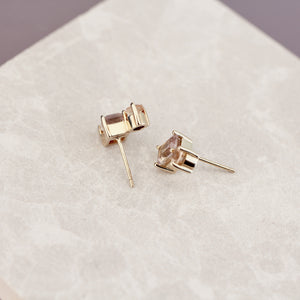 14k Gold Ametrine and Topaz Stud Earrings