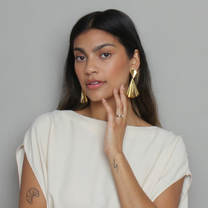 Gold Fan Earring Drops