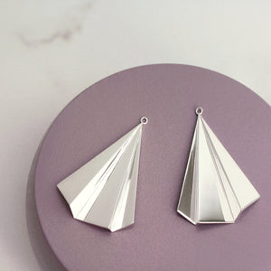 Silver Fan Earring Drops