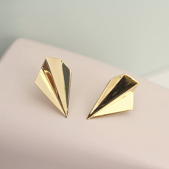 Gold Fan Stud Earrings