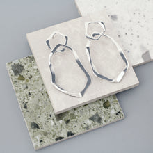 Load image into Gallery viewer, Silver Mirage Hoop Earrings