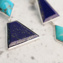 Load image into Gallery viewer, Silver Lapis and Turquoise Geometric Earrings
