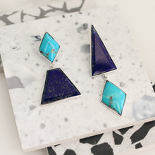 Load image into Gallery viewer, lapis jewelry turquoise jewellery sterling silver geometric bezel statement earrings magwood mociun solange colour blocked asymmetrical jewelry jewellery handmade toronto canada