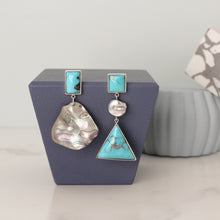 Load image into Gallery viewer, Silver Turquoise and Pearl Earrings