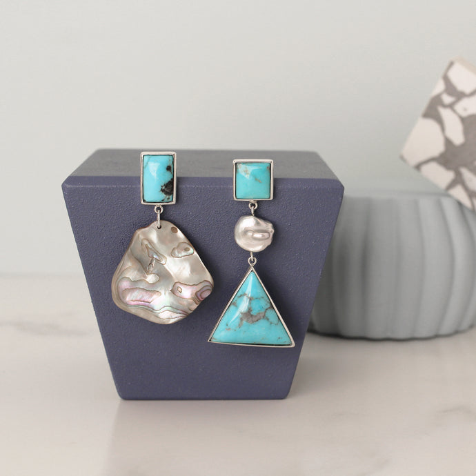 Silver Turquoise and Pearl Earrings