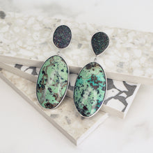Load image into Gallery viewer, turquoise jewelry druzy agate jewellery sterling silver statement earrings sculptural bezel set stones cabochon bridal wedding handmade accessories magwood mociun toronto canada one of a kind