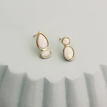 Load image into Gallery viewer, opal stud earrings 14k yellow gold sculptural pear shaped oval round magwood mociun fine jewelry jewellery handmade Toronto Canada one of a kind cluster