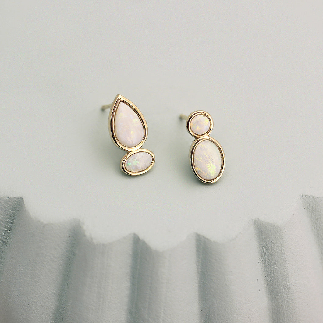 opal stud earrings 14k yellow gold sculptural pear shaped oval round magwood mociun fine jewelry jewellery handmade Toronto Canada one of a kind cluster