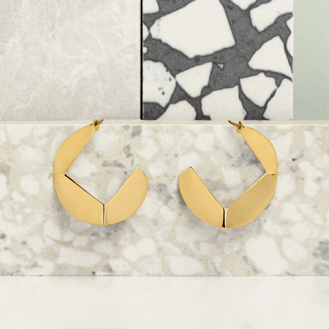 origami statement earrings hoops modern contemporary 10k 14k yellow gold magwood mociun jewelry jewellery accessories handmade toronto canada