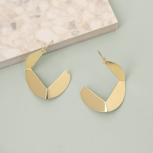 Gold Origami Hoop Earrings