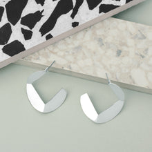Load image into Gallery viewer, Silver Origami Hoop Earrings