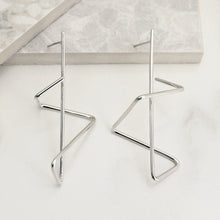 Load image into Gallery viewer, Silver Zig Zag Earrings
