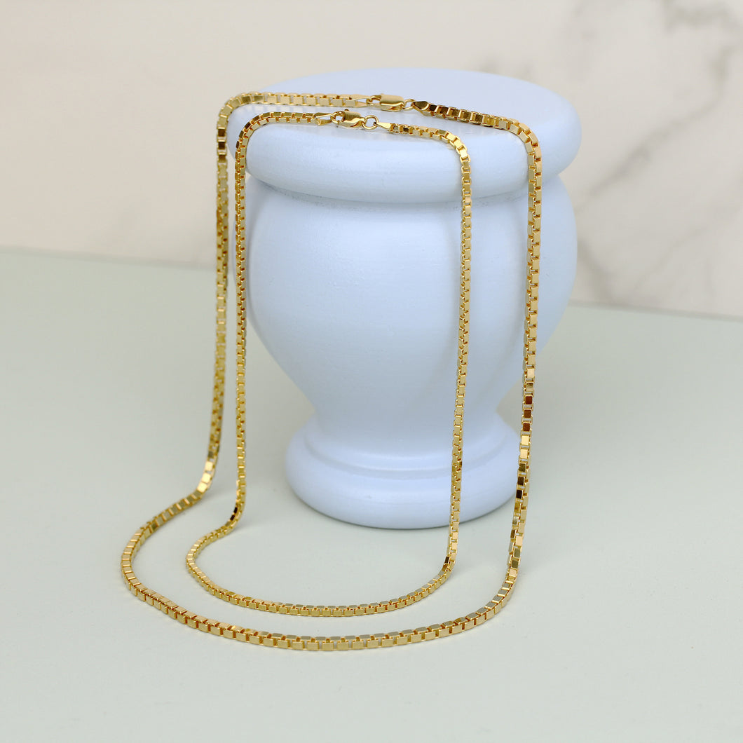 athena gold plated italian box chain modern contemporary magwood jewelry jewellery toronto canada