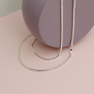 athena italian silver necklace box chain modern contemporary magwood jewelry jewellery toronto canada