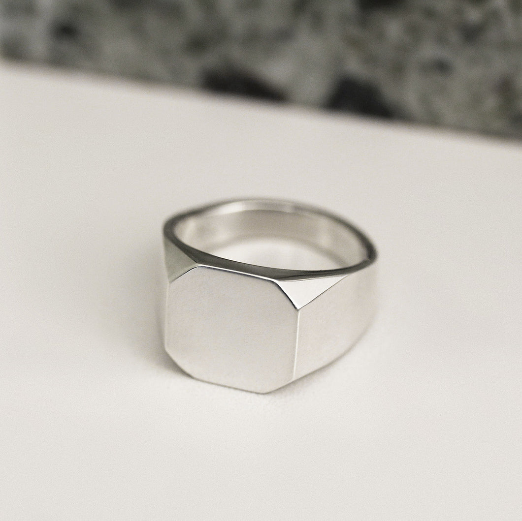 asher signet ring geometric modern contemporary signet jewelry jewellery magwood mociun handmade toronto canada 10k 14k white gold engagement ring wedding band