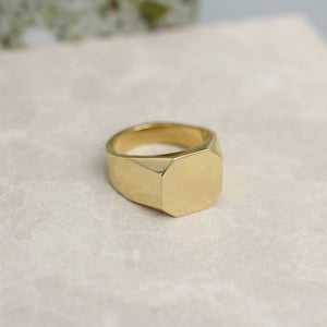 10k 14k yellow gold signet ring asher statement modern contemporary fine jewelry jewellery magwood mociun handmade toronto canada