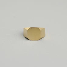 Load image into Gallery viewer, tara leigh rose 10k 14k yellow gold signet ring asher statement modern contemporary fine jewelry jewellery magwood mociun handmade toronto canada