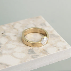 14k Gold Hexagon Diamond Ring