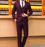 New Men Single Breasted Slim Fit Three Pieces Wedding Tuxedos Suits (Jacket+Pants+Vest)