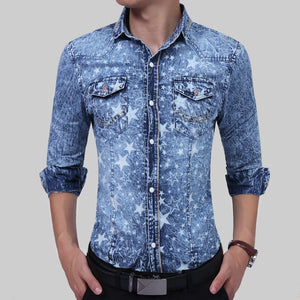 New Fashion Mens Long-Sleeves Five - Star Printed Denim Shirt Slim Dress Shirts