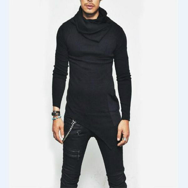Personality Long Sleeve Turtleneck Solid Slim Longline Irregular Hem T Shirt