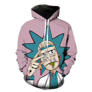 New Mens Classic Cartoon Rick and Morty 3D Hoodies Funny Sweatshirt