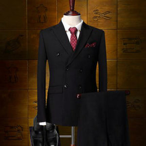 New Men's Double Breasted Formal Business Groom Slim Fit Suits (Jacket+Vest+Pants)