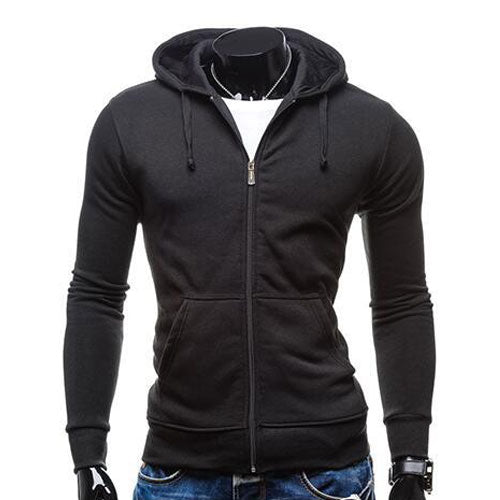 New Mens Fashion Pocket Casual Hoodies Slim Zipper Sweatshirt Coat