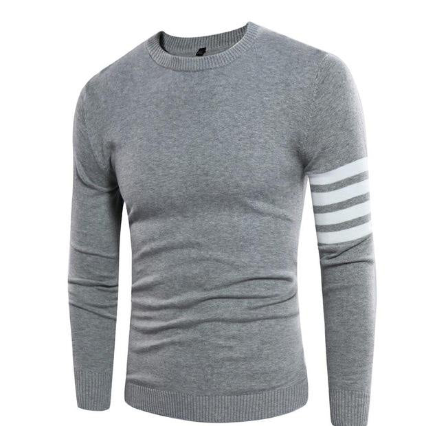 New Autumn Men Long Sleeve O-Neck Striped Slim Fit Casual Knitting Sweaters