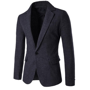 New Autumn Winter Mens Fashion Business Slim Fit Wool Suit Jacket