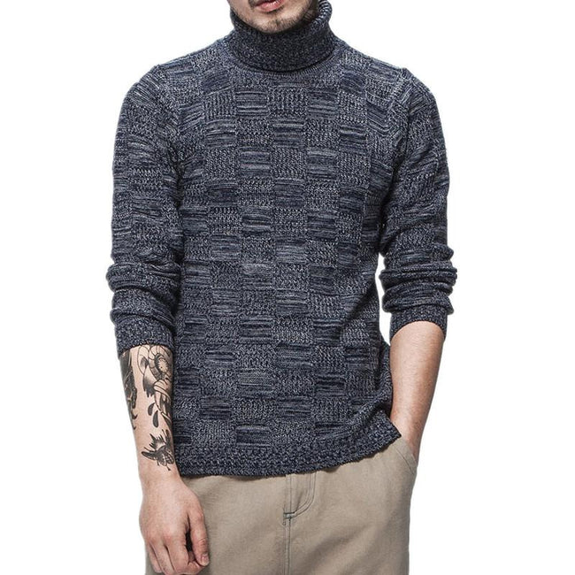 Autumn Winter Mens Turtleneck Cotton Slim Fit Casual Knitted Sweaters