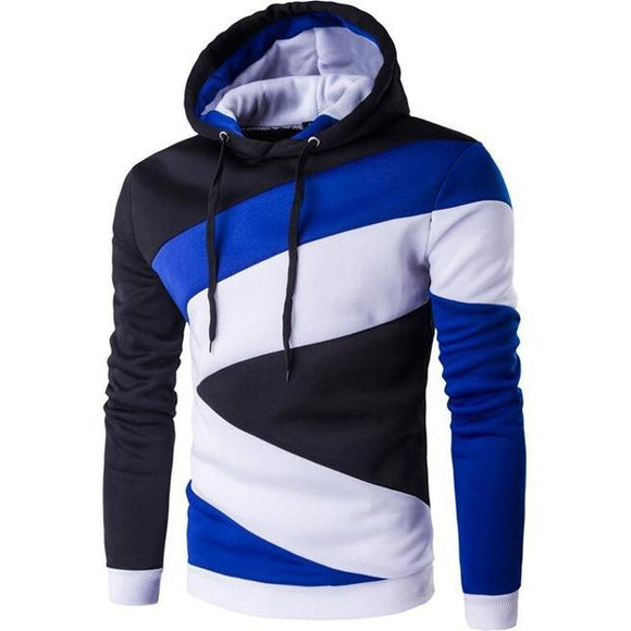 New Fashion Mens Hip Hop Color Stitching Hoodies Slim Fit Sweatshirt