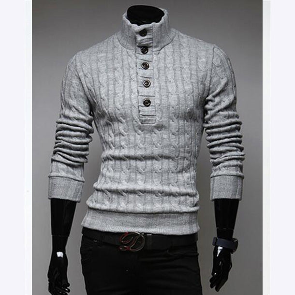 New Winter Men Turtleneck Long Sleeve Print Thin Wool Button Casual Knitted Sweater