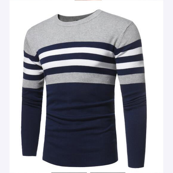 New Autumn Winter Men Long Sleeve O-Neck Striped Simple Slim Fit Knitting Sweaters