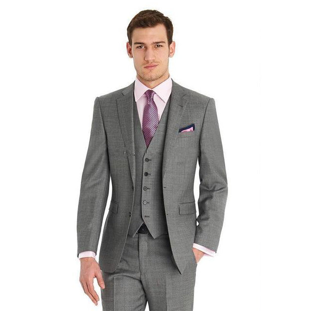 2018 New Men Fashion 3 Piece Grey Formal Wedding Groom Tuxedos Suits