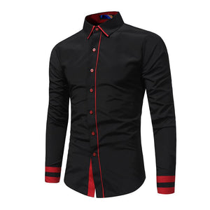 New Arrival Men Color Stitching Dress Shirt Long Sleeve Slim Fit Casual Shirts