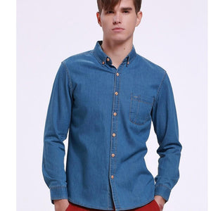 New Autumn Men Casual Shirts Cotton Collar Button-down Long Sleeve Slim Fit Denim Shirt With Pocket