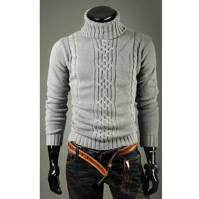 New Autumn Winter Men Turtleneck Jacquard Hedging Slim Solid Casual Sweater
