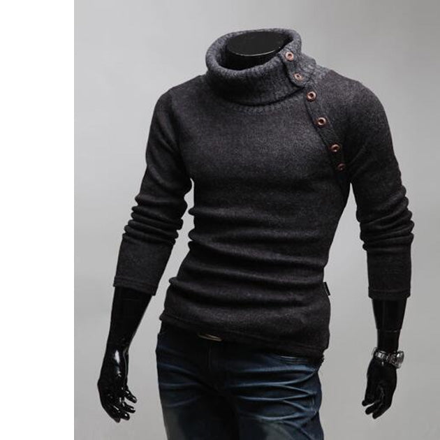 New Autumn Winter Men Turtleneck Slanting Button Design Solid Color Slim Fit Knitted Sweater