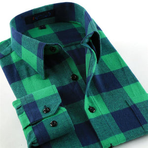 New Male Soft Comfortable Plaid Shirts Regular Tailoring Long Sleeve Cotton Leisure Shirt