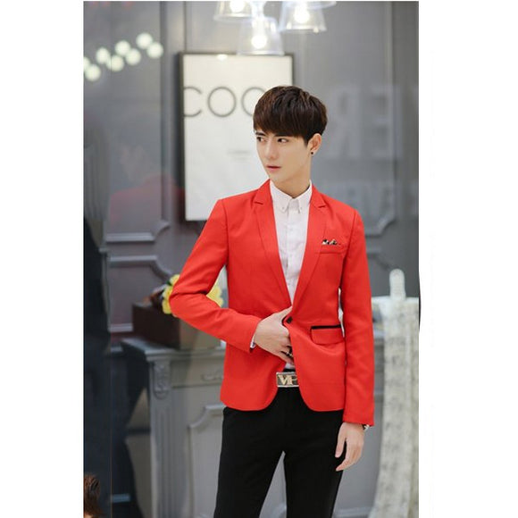 New Men Stylish Single Button Solid Lapel Casual Blazer