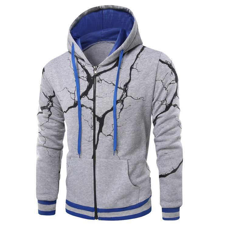 New Men's Cardigan Lightning 3D Printing Hip Hop Sweatshirts Winter Pullover Sportswear