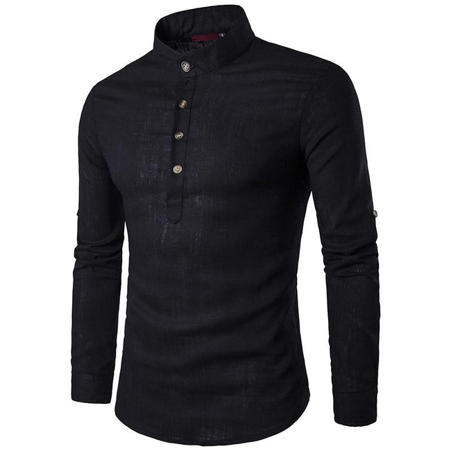 New Men`s Linen Cotton Blended Shirt Mandarin Collar Breathable Comfy Traditional Shirt