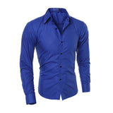 Men Fashion Long Sleeve Turn-down Collar Plaid Print Solid Color Casual Shirts