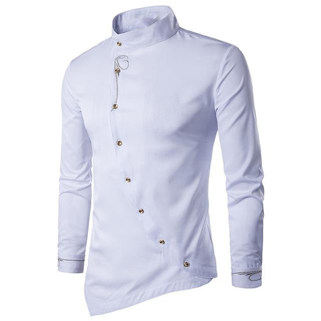New Long Sleeve Square Collar Personality Oblique Button Irregular Slim Fit Casual Shirts